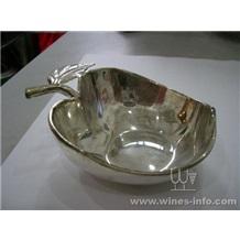 包纯银苹果心型古董试酒碟