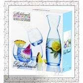 水晶杯*意大利路易治.波米奥尼水晶系列*1酒瓶+4蓝色威士忌酒杯