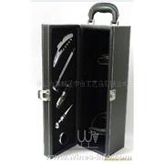 单支黑色红酒皮盒 皮质包装礼盒 开瓶器套装酒具4件