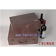 皮质红酒包装盒,高档皮质红酒盒,PU高档红酒盒,皮质包装红酒盒(中秋红酒礼盒、)