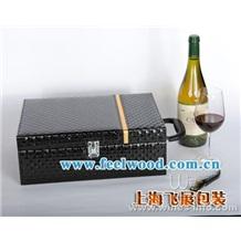 厂家直销酒盒、黑色六支红酒盒、皮提手红酒皮盒、礼品盒、木盒 (飞展红酒盒)
