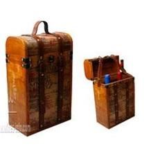 【厂家直销全民疯抢】木质红酒盒 仿古英文皮双支红酒盒 飞展红酒盒