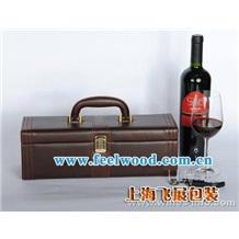 上海飞展工厂 现货批发红酒包装盒单支咖啡色皮酒盒