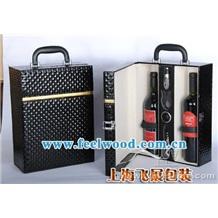 上海飞展葡萄酒盒 红酒皮盒 包装盒 现货供应棕色十字纹酒盒