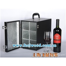 【大量供应】单瓶、双瓶装红酒盒包装、红酒皮质包装盒(现货)