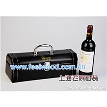 10月特价  现货批发皮质单支酒盒、高档PU皮红酒包装盒、上海飞展红酒皮盒  2012年