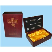 36.红酒包装盒 葡萄酒盒 双瓶装红酒木盒 双支哑光红木盒Q006
