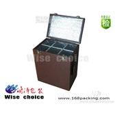 厂家直销棕色六只装红酒皮盒葡萄酒六只皮盒