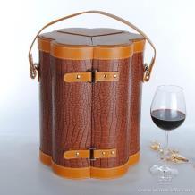 订制高档梅花六瓶装红酒皮盒