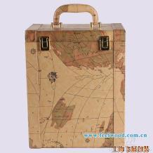 中秋特价 地图六瓶装红酒皮盒