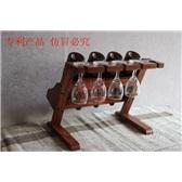 台式酒架 酒杯架置物架实木酒柜 橡木红酒架 台式酒柜红酒架