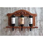 创意 欧式壁挂红橡木实木雕花红酒架 悬挂 葡萄酒架 厨房吊杯架