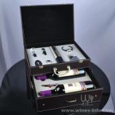 百诣高档不锈钢电动开瓶器双层双支酒箱套装BY718