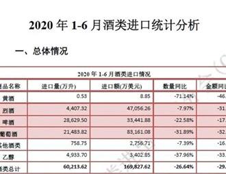 2020年1-6月酒类进口统计分析