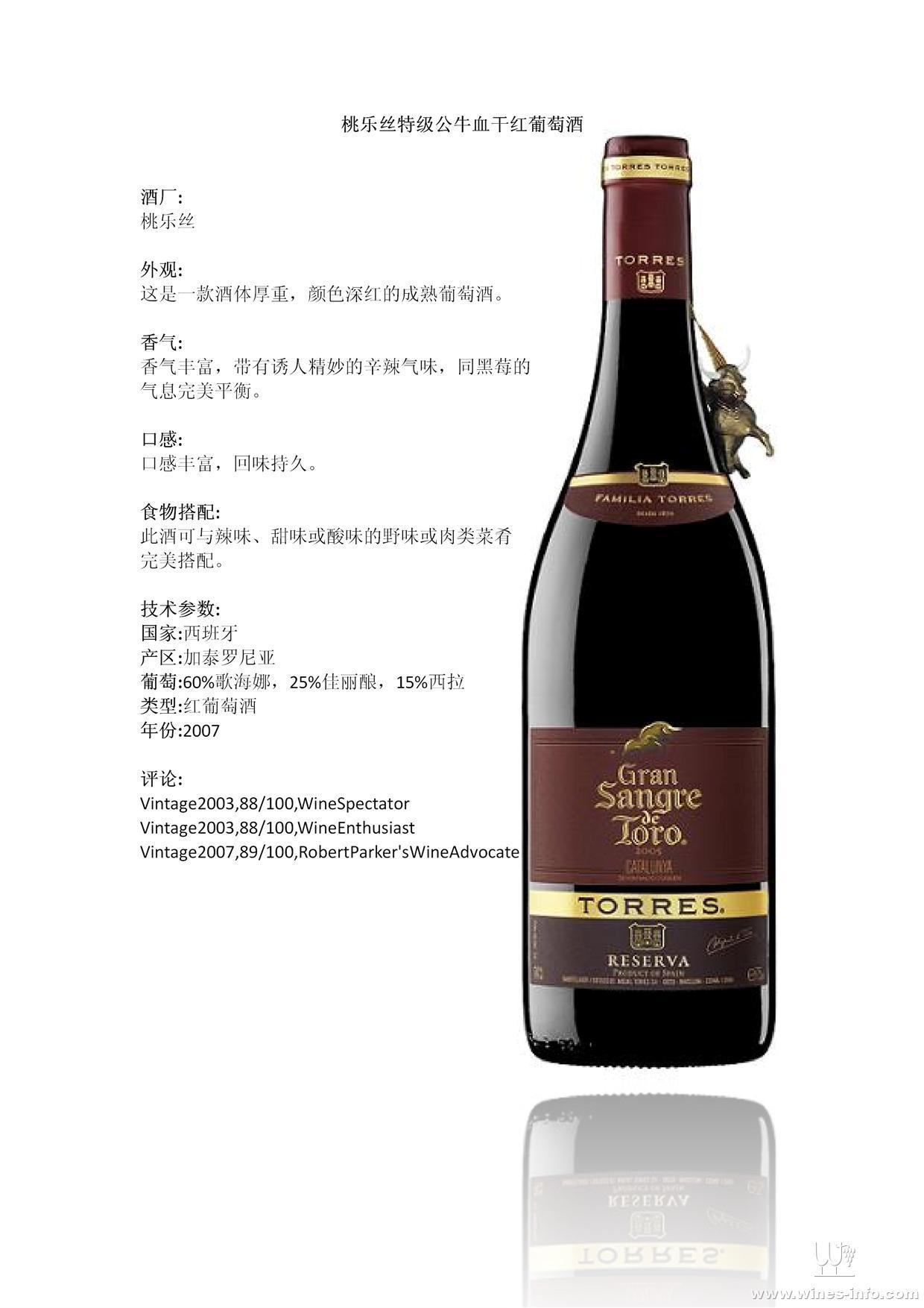 桃乐丝葡萄酒_桃乐丝特级公牛血干红葡萄酒:中国葡萄酒资讯网(www.winesinfo.com)
